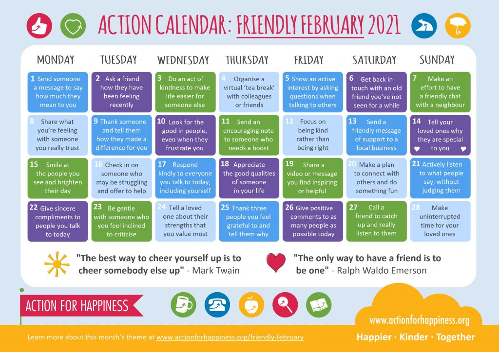 February 2021 Action for Happiness Calendar